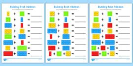 Building Brick Addition Activity Sheet