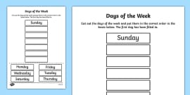 Days of the Week Cut and Stick Activity Sheet