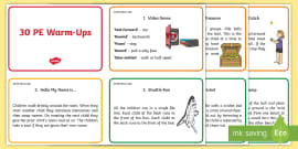 30 Warm-Up Ideas for PE Cards