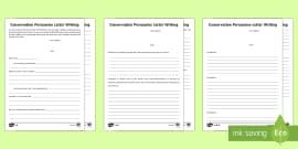 KS2 Conservation Persuasive Letter  Writing Frames