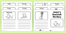 Black and White Mini Diary to Support Teaching on Jasper's Beanstalk
