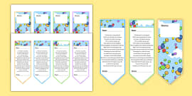End of Year Poem Editable Bookmarks