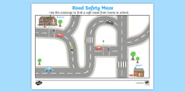 Road Safety Crossings Maze Activity Sheet