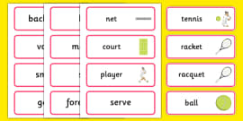 The Olympics Tennis Word Cards