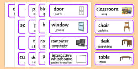 Classroom Word Cards Portuguese Translation