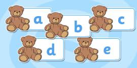 A-Z Alphabet on Teddy Bears