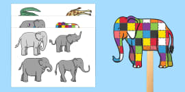 Stick Puppets to Support Teaching on Elmer
