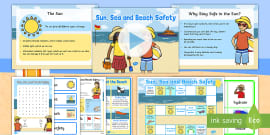 * NEW * Sun, Sea and Beach Safety Information and  Activity Pack