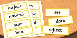 Year 3 Light Scientific Vocabulary Cards
