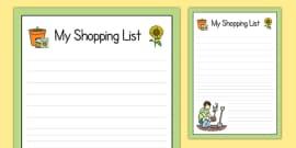 Garden Centre Role Play Shopping List