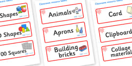 Red Themed Editable Classroom Resource Labels