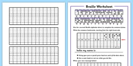 Braille Activity Sheets