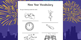 New Year Dictionary Work Activity Sheet