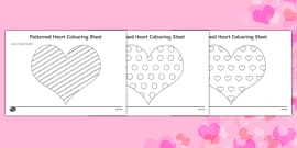 Valentine's Day Patterned Hearts Colouring Sheets (Black & White)