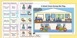 Picture Scenes and 'Wh' Questions School Scene