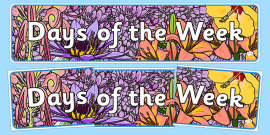Days Of The Week Display Banner Flower Background