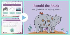 Ronald the Rhino Rhyming PowerPoint