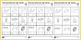 Find and Write the igh Words Differentiated Activity Sheet Pack