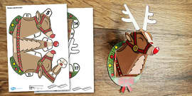 3D Reindeer Head Decoration Paper Printable