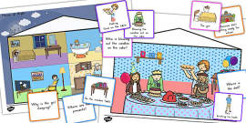 Picture Scenes With 'Wh' Questions and Answer Cards Pack