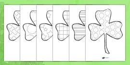 St Patricks Day Patterned Shamrock Colouring Sheets