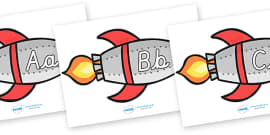 A-Z Alphabet on Rockets (Upper and Lowercase Cursive)
