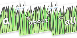 100 High Frequency Words on Wavy Grass