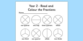 Year 2 Read and Colour a Fraction Activity Sheet