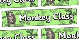 Monkey Themed Classroom Display Banner