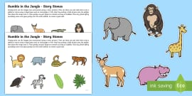Story Stone Image Cut Outs to Support Teaching on Rumble in the Jungle