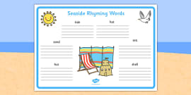Seaside Rhyming Words Worksheet