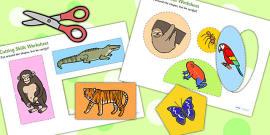 Jungle Themed Cutting Skills Activity Sheets