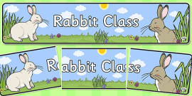 Rabbit Themed Classroom Display Banner