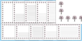 Cherry Tree Themed Page Borders