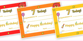 Editable Birthday Certificates (Age 7)