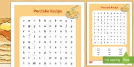 Pancake Recipe Wordsearch