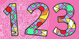 Diwali Rangoli Pattern A4 Display Numbers