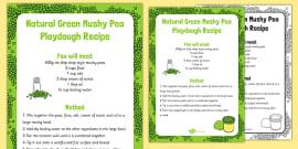 Natural Green Mushy Pea Playdough Recipe