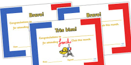 French Club Certificates