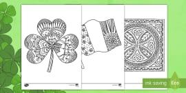 St Patrick's Day Shamrock Mindfulness Colouring Sheet