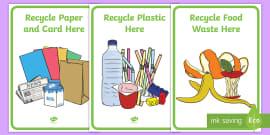 Classroom Recycling Bin Posters Labels (Australia)