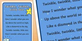 Twinkle Twinkle Little Star Nursery Rhyme Poster