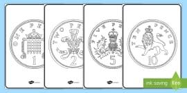 British (UK) Coins Colouring Sheets
