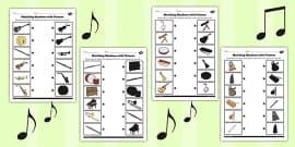 Music Shadow Matching Worksheet
