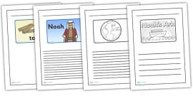 Noah's Ark Black and White Lined Writing Frames