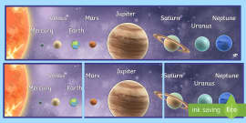 * NEW * Solar System Planets in Order Display Banner