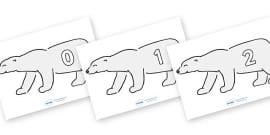 Numbers 0-50 on Polar Bears