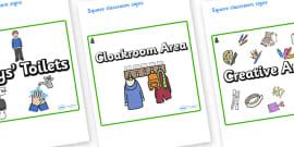 Fir Tree Themed Editable Square Classroom Area Signs (Plain)