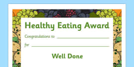 Healthy Eating Award Certificates