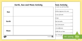 Earth Sun and Moon Fact Table Activity